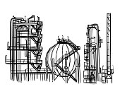 An oil refinery with a large sphere and chimney