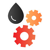 Oil and gear flat icon. Automobile liquid color icons in trendy flat style. Auto lubricant gradient style design, designed for web and app. Eps 10