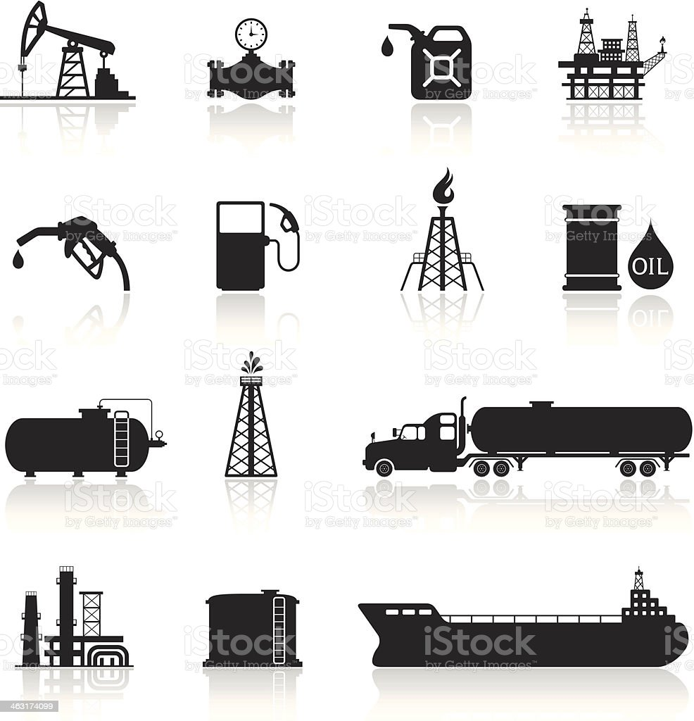 Oil and Petrol Industry Icon Set vector art illustration