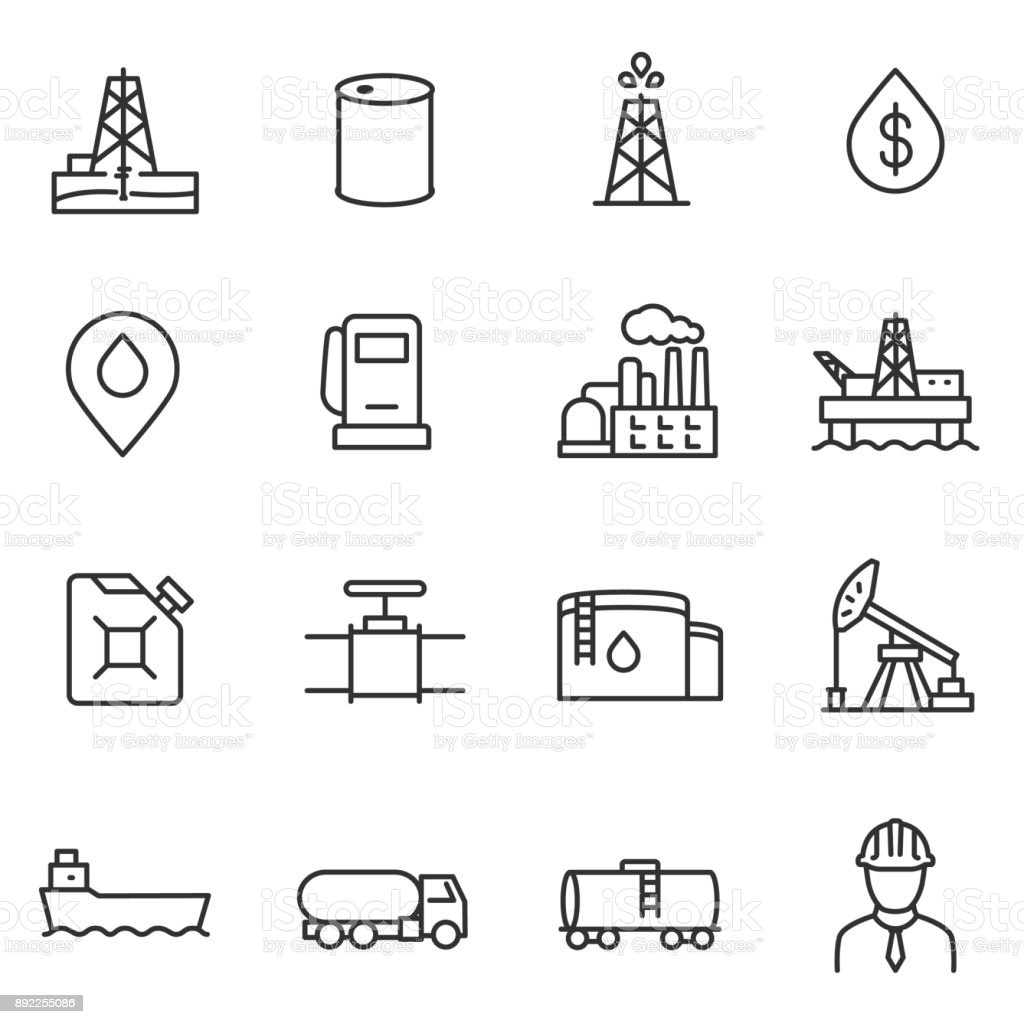 Oil and petroleum industry icons set. Line with editable stroke vector art illustration
