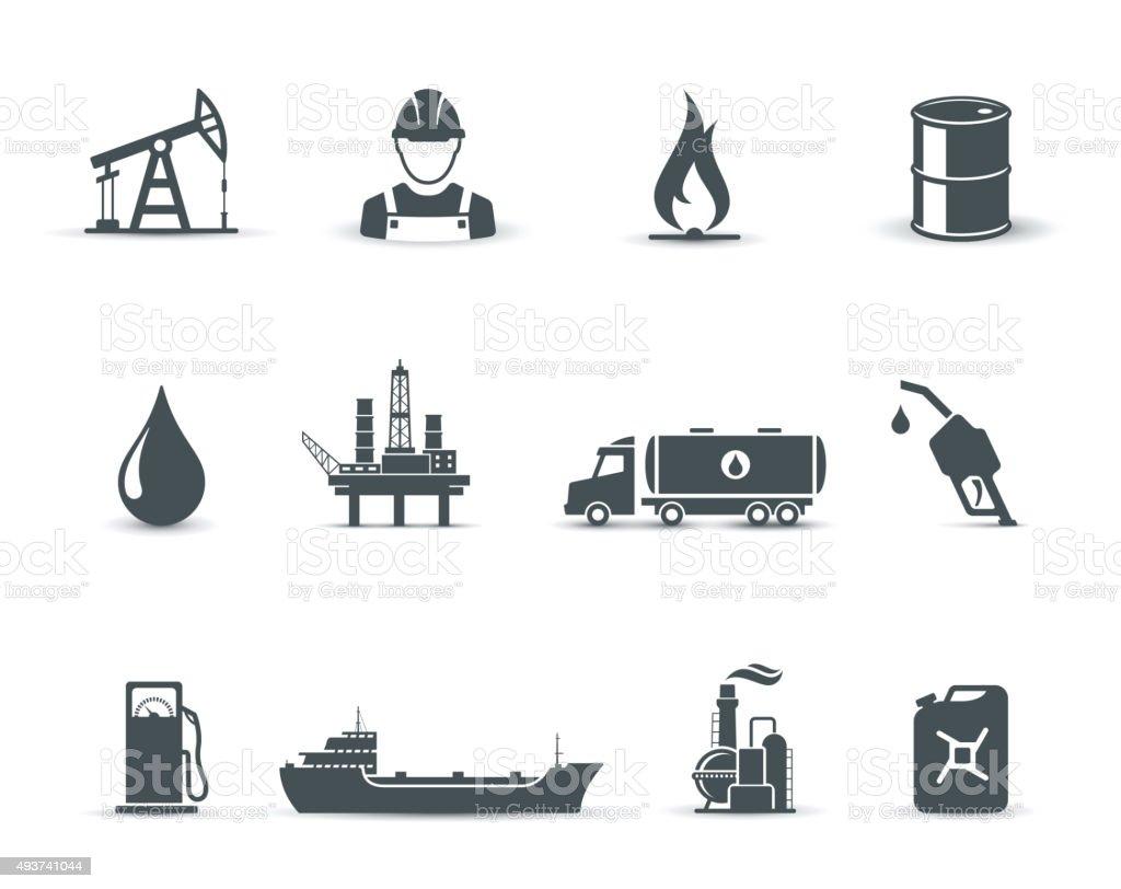 Indústria de petróleo, e do petróleo ícones - ilustração de arte em vetor