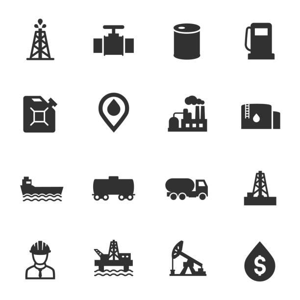 石油和石油工業, 單色圖示設置。 - 不完整 幅插畫檔、美工圖案、卡通及圖標