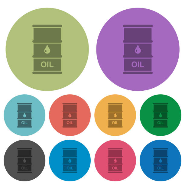 Oil barrel color darker flat icons Oil barrel darker flat icons on color round background oil drum stock illustrations