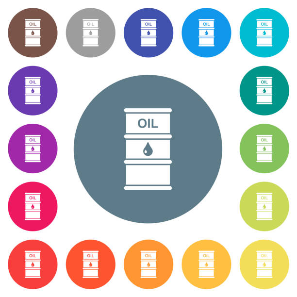 Oil barrel flat white icons on round color backgrounds Oil barrel flat white icons on round color backgrounds. 17 background color variations are included. oil drum stock illustrations