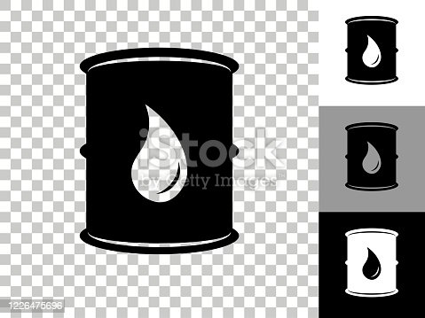 Oil Barrel Icon on Checkerboard Transparent Background. This 100% royalty free vector illustration is featuring the icon on a checkerboard pattern transparent background. There are 3 additional color variations on the right..