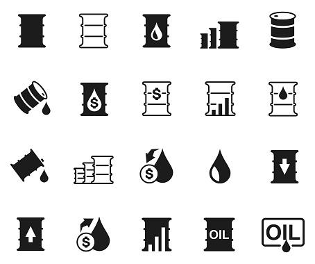 Oil barrel icon set , vector illustration