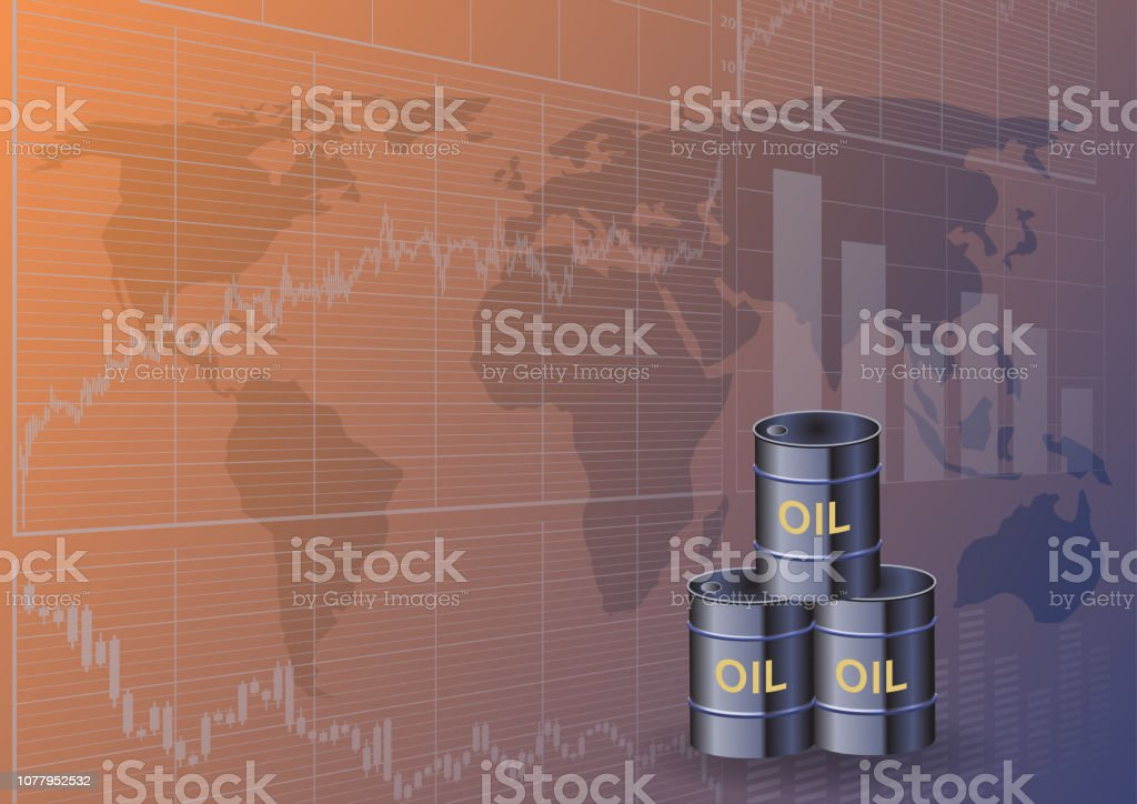 Oil Barrels And Stock Charts Stock Illustration - Download Image Now