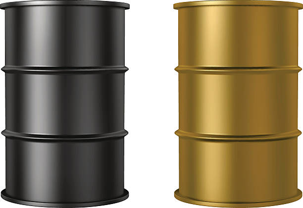 Oil barrels isolated on white background, black and gold color RGB vector illustration -  created with gradient mesh, 3D model with studio lighting and pathtracing render used for reference oil drum stock illustrations