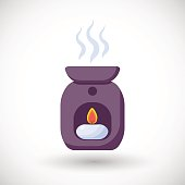 Oil burner vector flat icon
