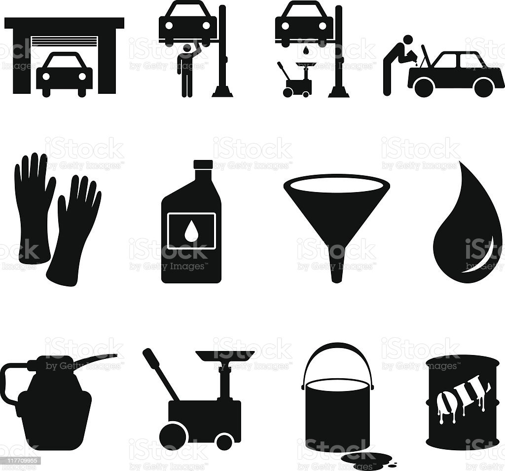 oil change black and white royalty free vector icon set royalty-free stock vector art