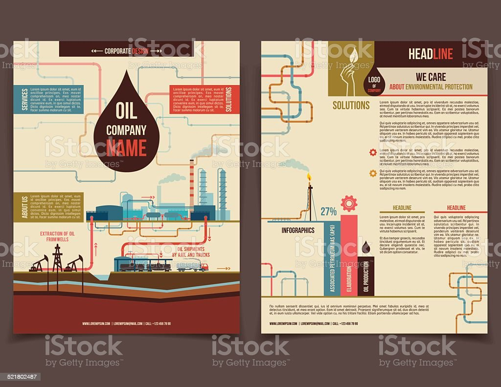 Oil company corporate flyer vector art illustration