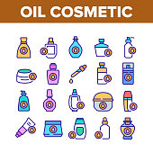 Oil Cosmetic Skin Care Collection Icons Set Vector. Essential Aromatic Oil Container And Bottle, Package And Pipette, Aromatherapy Concept Linear Pictograms. Color Illustrations