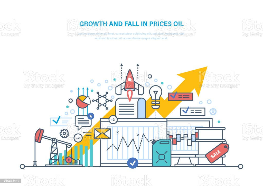 Oil Crisis Dynamics Growth And Fall In Prices Oil Sale Stock Vector