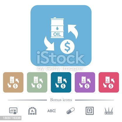 istock Oil Dollar exchange flat icons on color rounded square backgrounds 1309776338