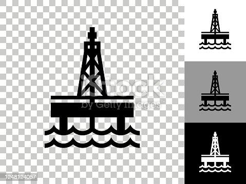 istock Oil Drill Icon on Checkerboard Transparent Background 1248124057