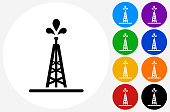 Oil Drill Icon on Flat Color Circle Buttons. This 100% royalty free vector illustration features the main icon pictured in black inside a white circle. The alternative color options in blue, green, yellow, red, purple, indigo, orange and black are on the right of the icon and are arranged in two vertical columns.