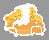 istock Oil drilling 2D vector web banner, poster 1306205413
