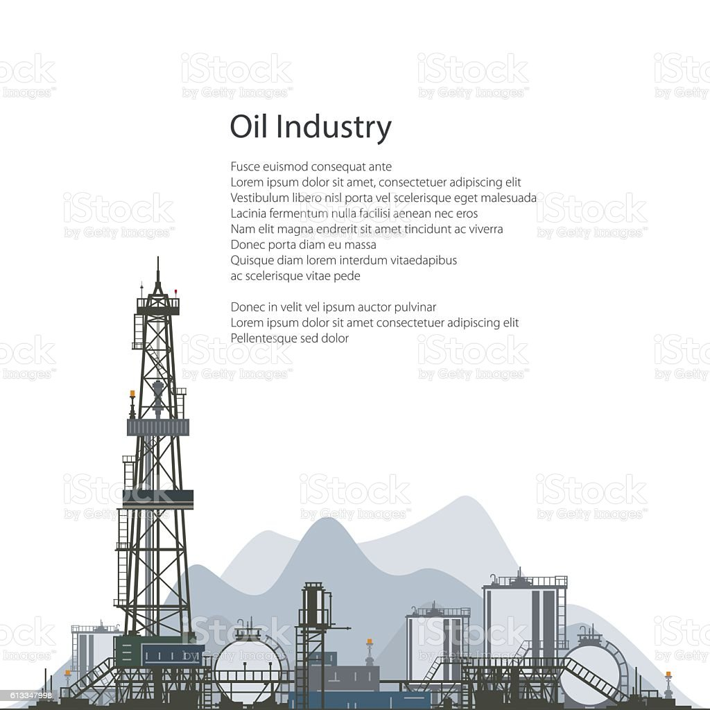 Oil Drilling Rig, Brochure Flyer Design vector art illustration