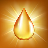 Oil drop. Gold transparent liquid organic water or oil splashes on glossy reflection vector background. Oil drop illustration, golden natural drip honey