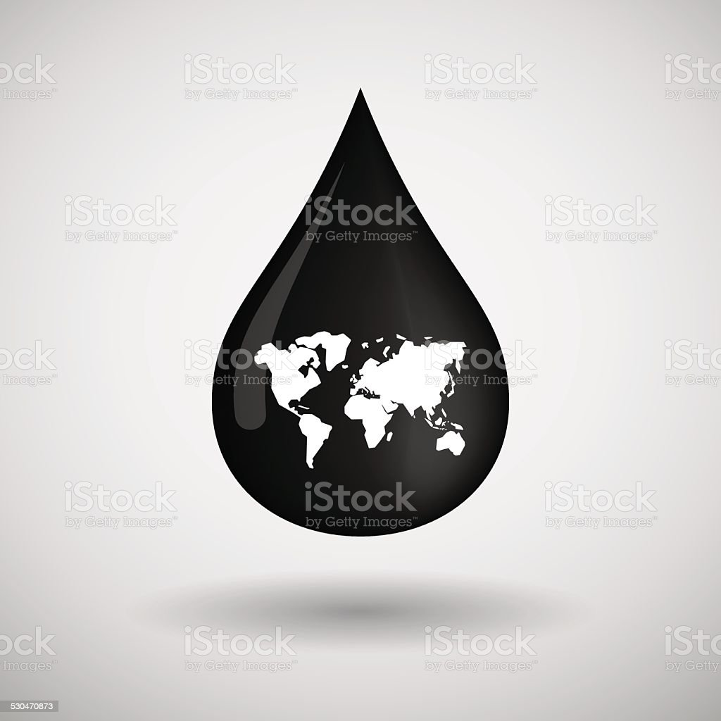 Oil drop icon with a world map vector art illustration