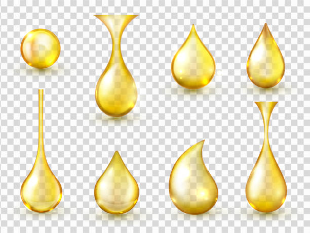 Oil drops realistic vector isolated illustrations collection vector art illustration