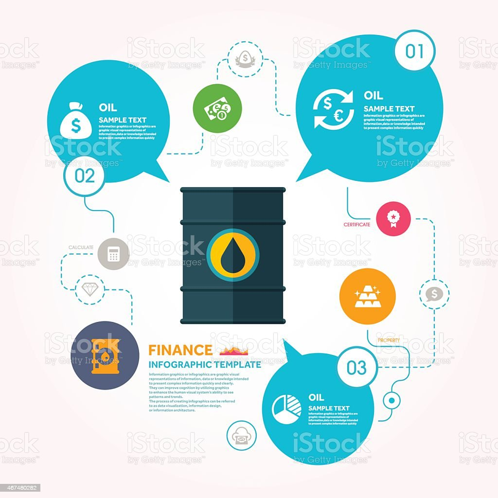 Oil Drum And Finance Infographic Template Stock Illustration