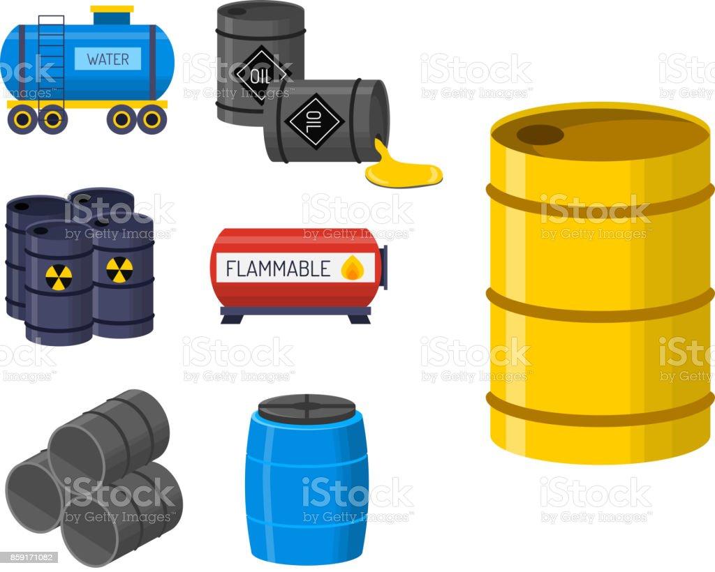 Oil drums container fuel cask storage rows steel barrels capacity tanks natural metal old bowels chemical vessel vector illustration vector art illustration