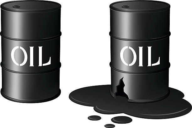 Oil Drums/Oil Spill Vector illustration of black oil drums, one intact, and one damaged and leaking oil. Each barrel is on its own layer, easily separated from the other barrel in a program like Illustrator, etc. Illustration uses gradient meshes and linear gradients. Both .ai and AI8-compatible .eps formats are included, along with a high-res .jpg, and a high-res .png with transparent background. oil drum stock illustrations