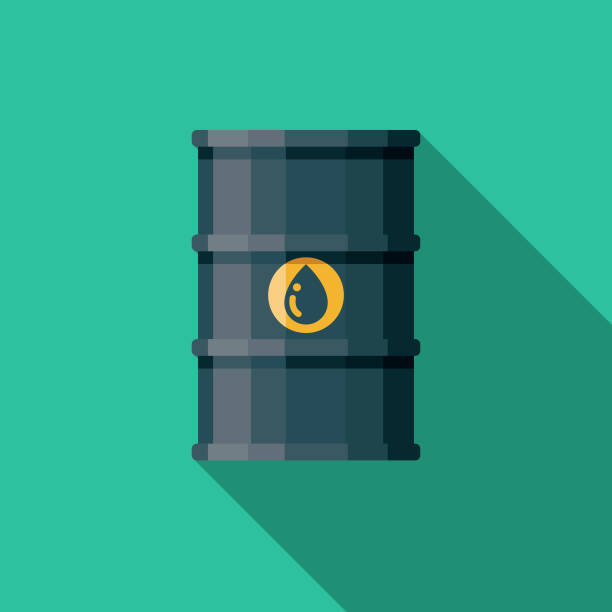 Oil Energy Icon A flat design icon with a long shadow. File is built in the CMYK color space for optimal printing. Color swatches are global so it's easy to change colors across the document. oil drum stock illustrations