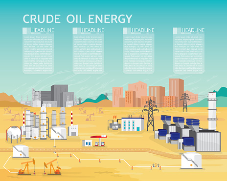 oil energy with diesel engine generate the electric in simple graphic