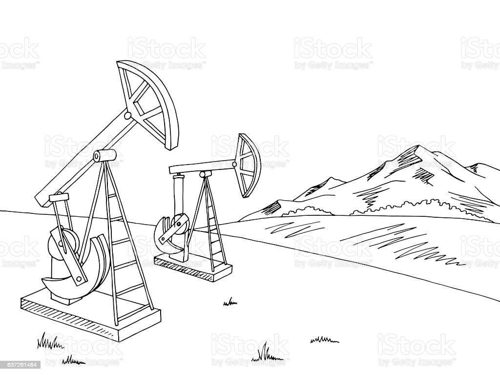 Oil extraction graphic black white landscape sketch illustration vector vector art illustration