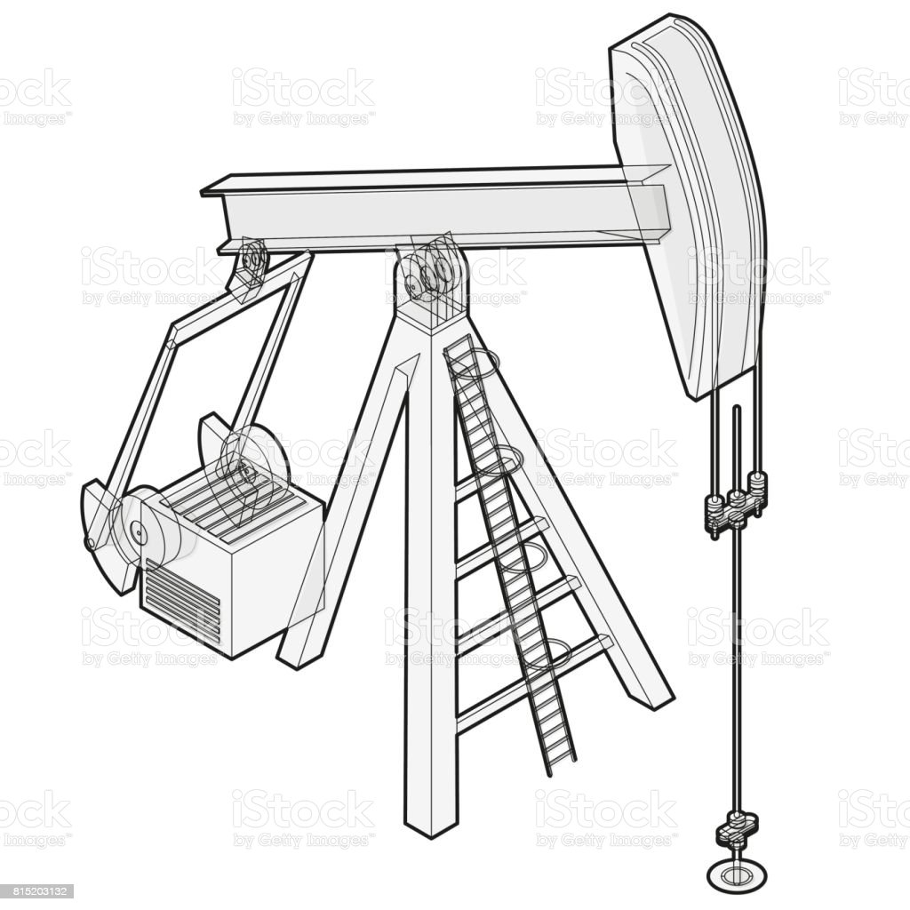 oil extraction pump outlined oil well industry production oilfield equipment stock vector art
