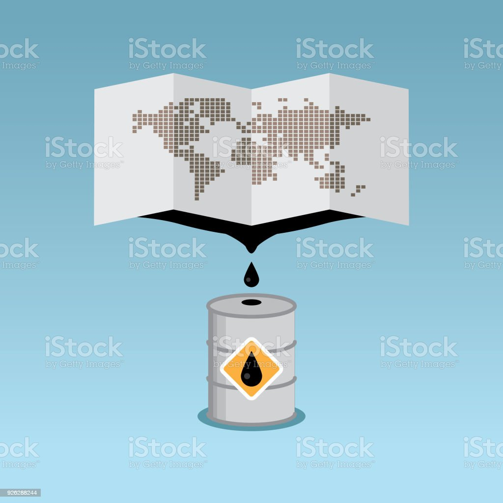 Oil faucet in earth globe vector art illustration