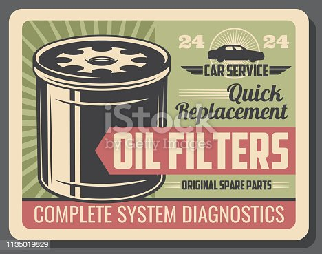 Car repair service and auto parts retro poster with oil filters. Quick detail replacement and complete system diagnostic. Transport or vehicle repairing and garage station or workshop vector