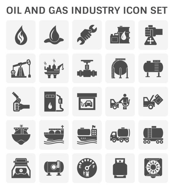oil gas icon Oil and gas industry and transportation vector icon set design. station stock illustrations