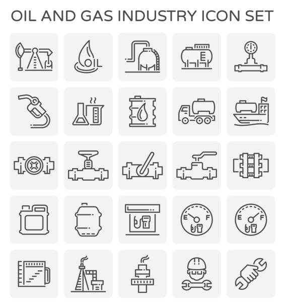 oil gas icon Vector line icon of oil and gas industry. oil and gas stock illustrations