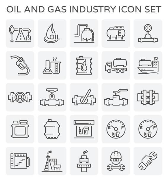 석유 가스 아이콘 - 석유 화학 공장 stock illustrations