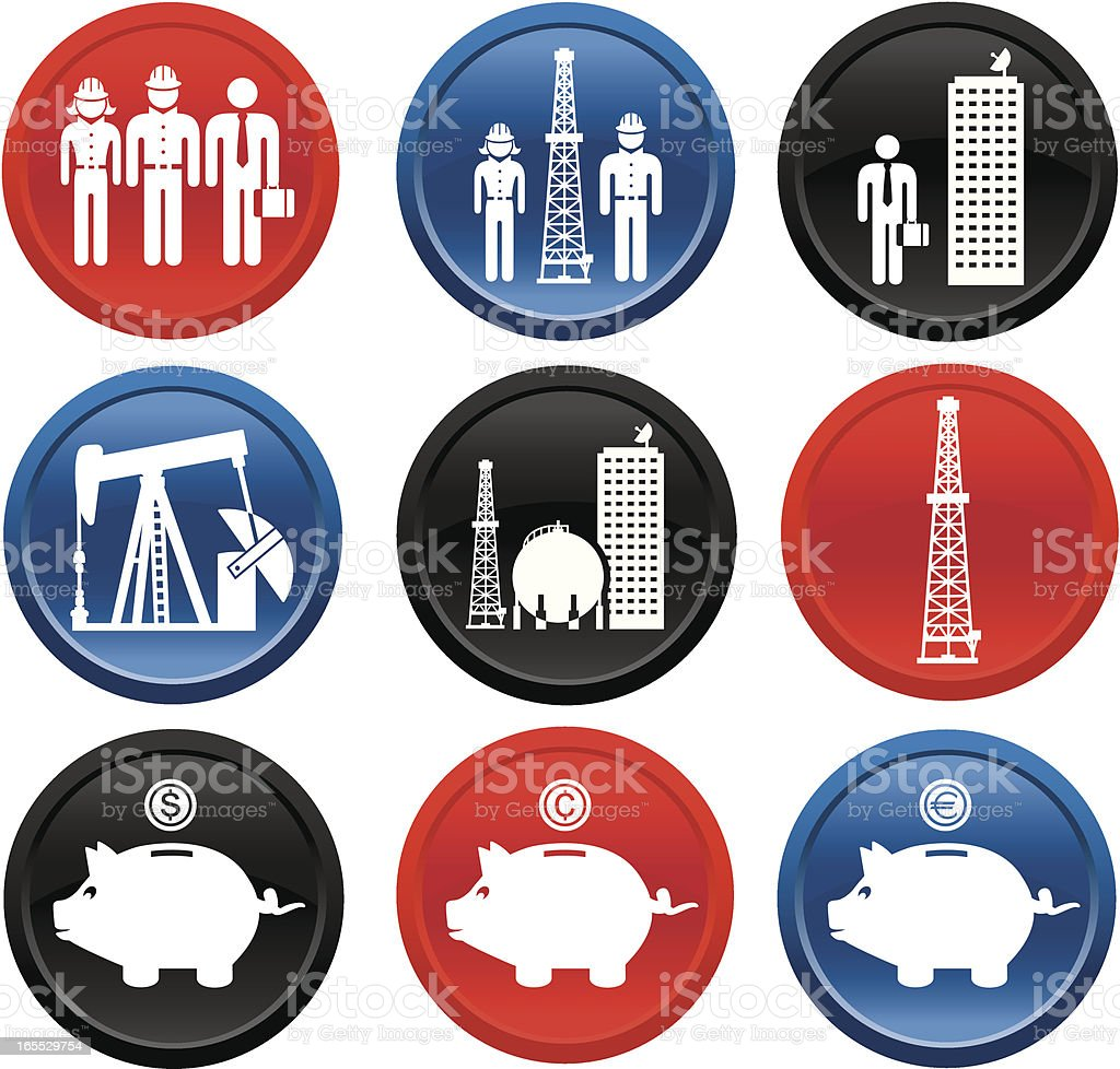 Oil & Gas Industry Careers Icons On Buttons royalty-free stock vector art