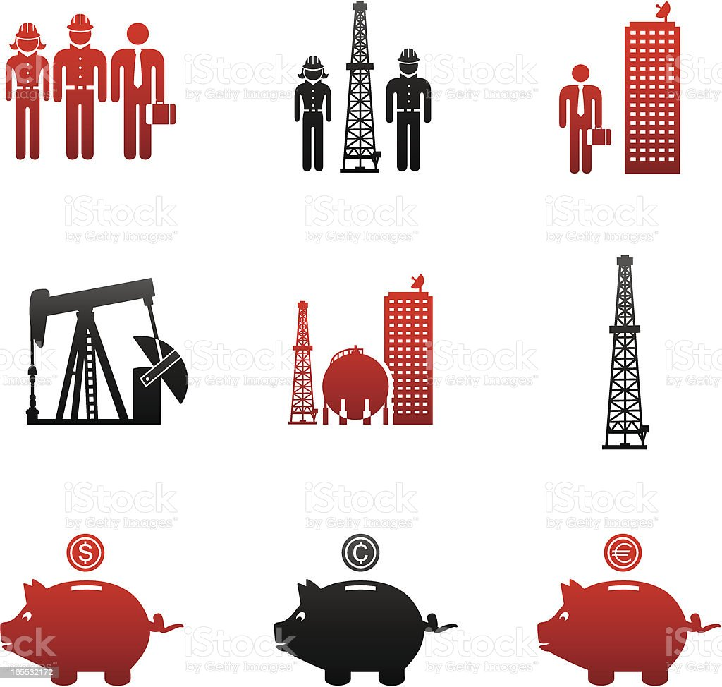 Oil & Gas Industry Careers Icons-Red and Black royalty-free oil gas industry careers iconsred and black stock vector art & more images of bringing home the bacon