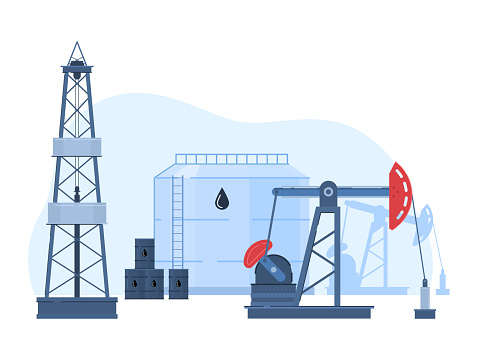 Oil gas industry vector illustration, cartoon flat urban landscape with drilling rig in oilfield, storage in tanks icon isolated on white