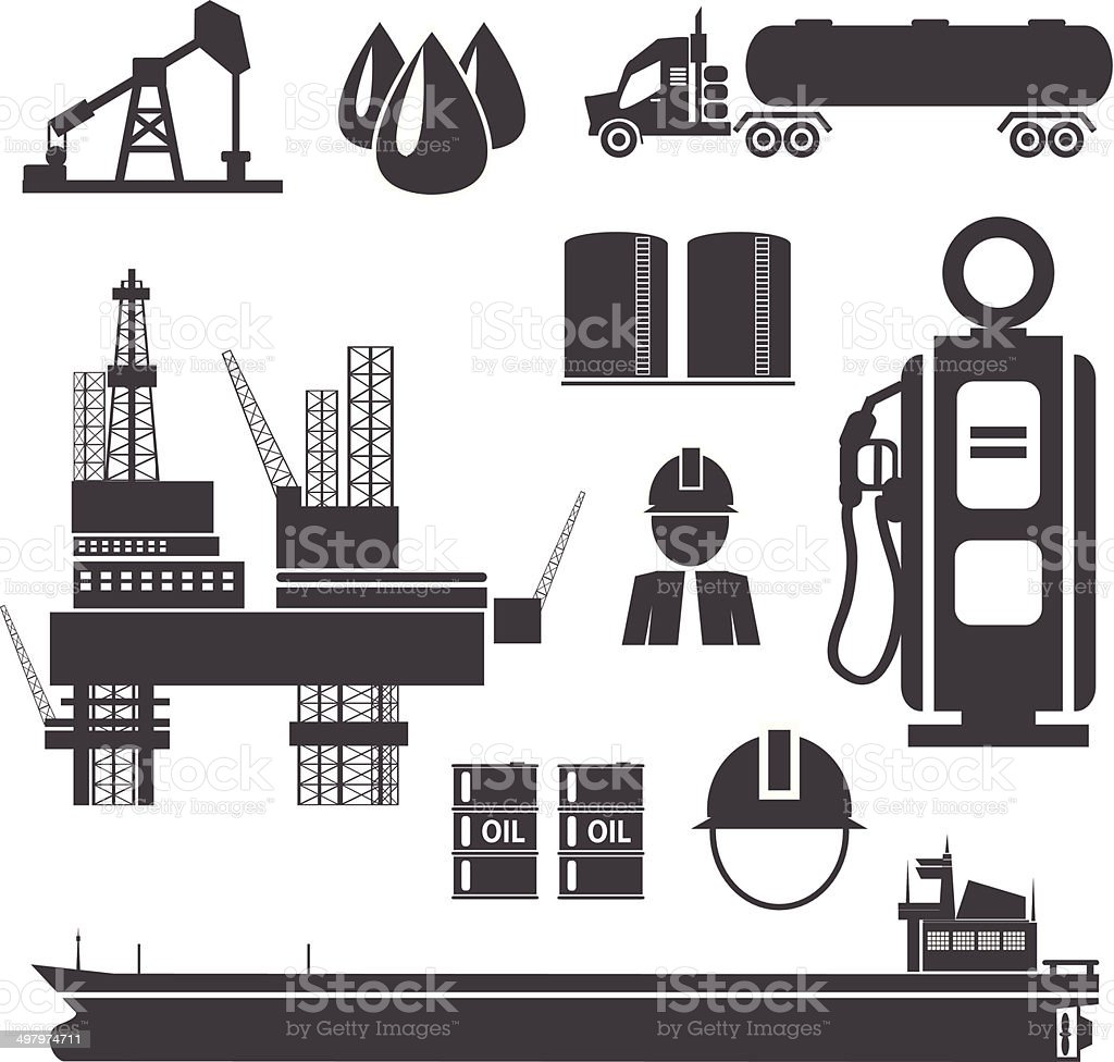 Oil, gasoline and petroleum related icon set vector art illustration