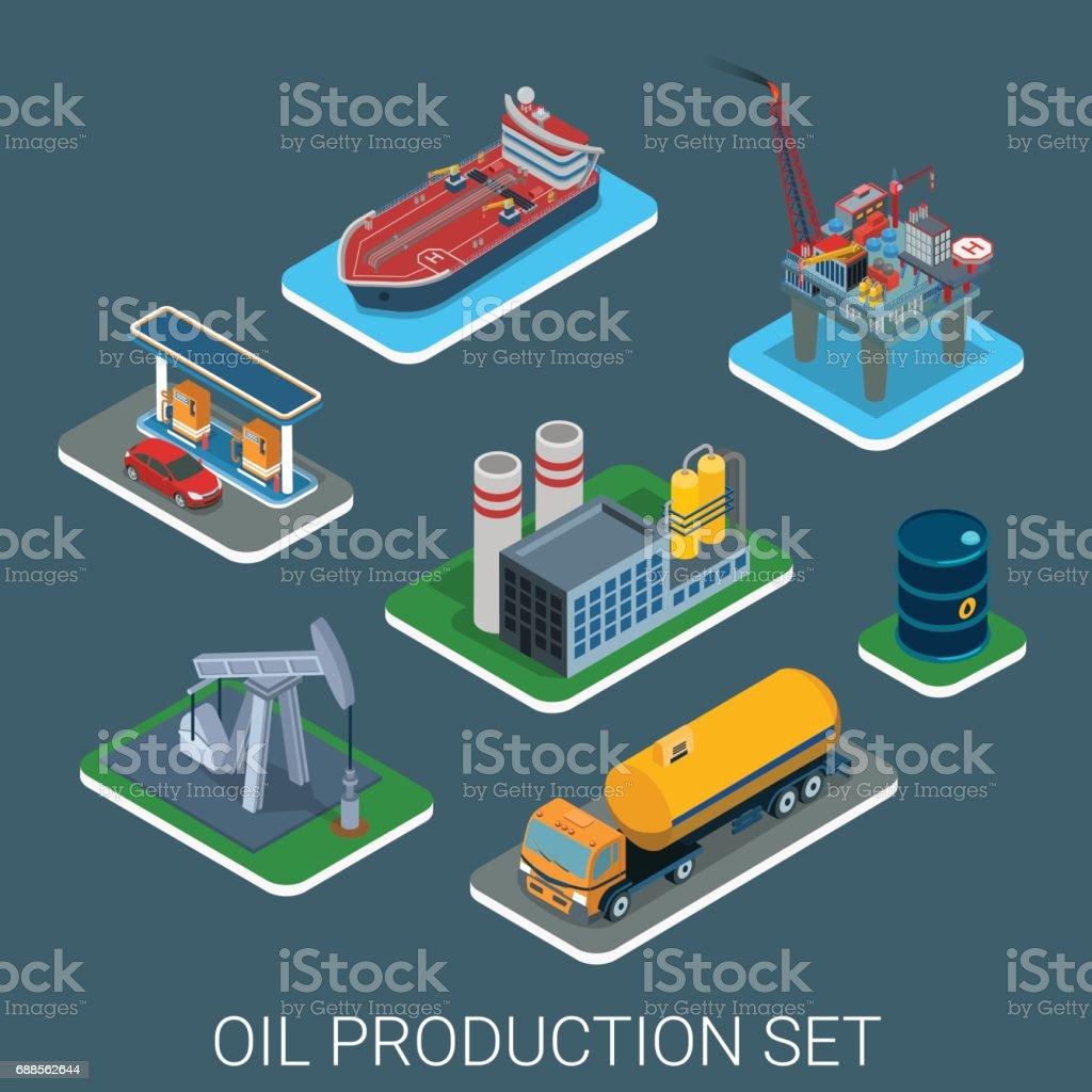 Oil Gasoline Production Process Cycle Flat 3d Web ...