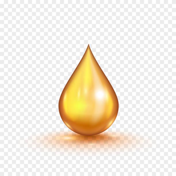 bildbanksillustrationer, clip art samt tecknat material och ikoner med olja guld bubbla isolerad på en transparent bakgrund. vektorillustration - omega 3