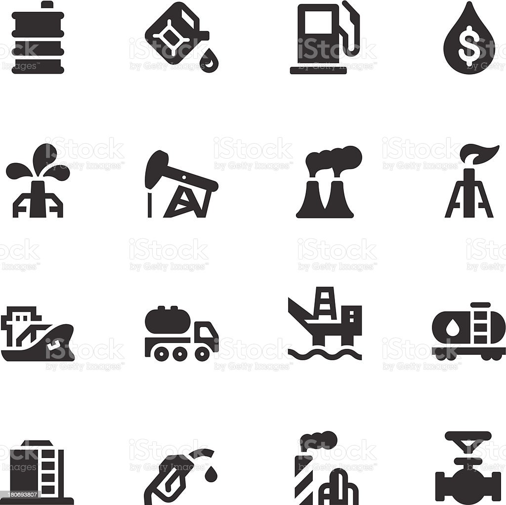 Oil Icons - Black Series vector art illustration