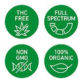 CBD oil icons set including THC free, 100% organic, non GMO, full spectrum