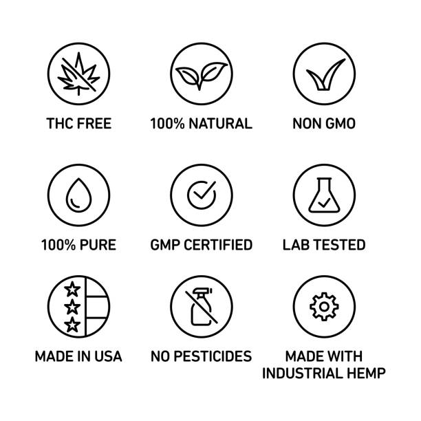 CBD oil icons set THC free, 100% natural, non GMO, 100% pure, fluid, GMP certified, lab tested,  made in USA, no pesticides, made with industrial hemp genetic modification stock illustrations