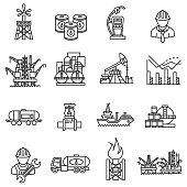 oil icons set. petroleum industry collection. Thin line design