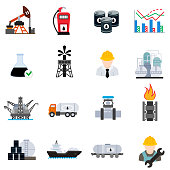 Petroleum-producing, flat design. Processing and transportation resources, symbols collection.