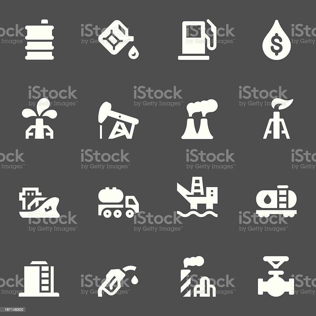 Oil Icons - White Series royalty-free stock vector art
