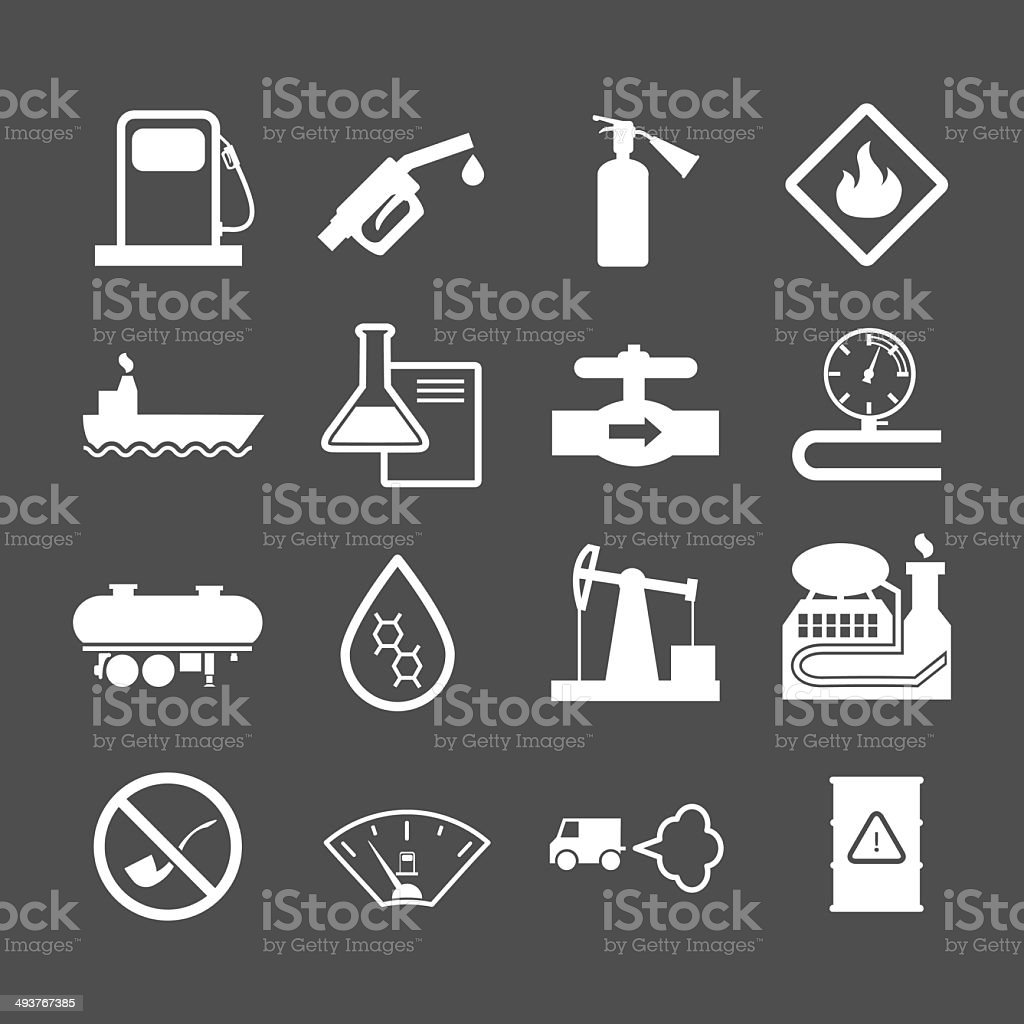 Oil industry and petroleum icons set vector art illustration